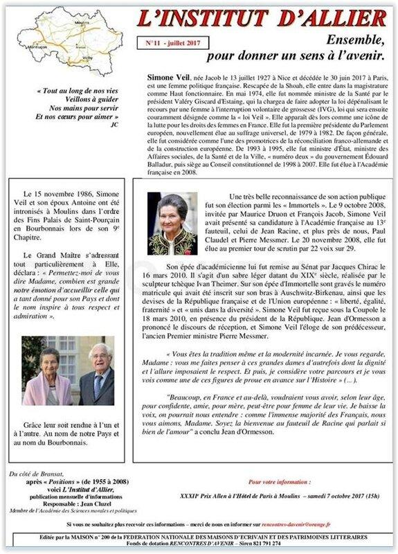 Hommage à Madame Simone Veil JEAN CLUZEL PRIX ALLEN