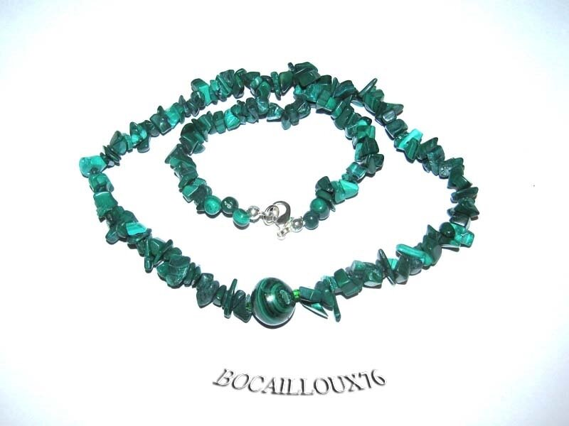 COLLIER MALACHITE 5 - FERMOIR MOUSQUETON ARGENTE
