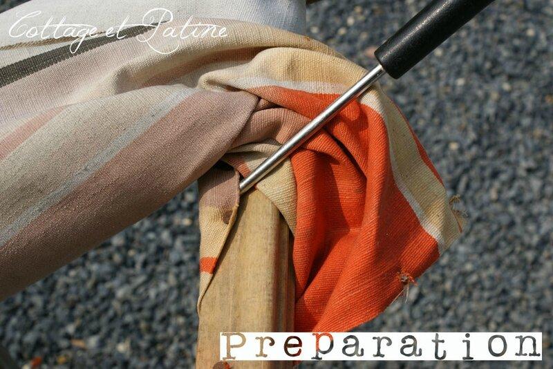 Cottage et Patine refection tissu chaises longues 02