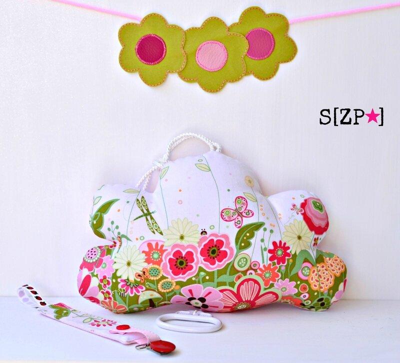 Mobile musical pour enfant, boite à musique nuage fleurs et papillons, libellule, fille