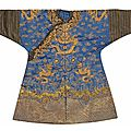 An embroidered blue satin dragon robe for a young prince, qing dynasty, 19th century