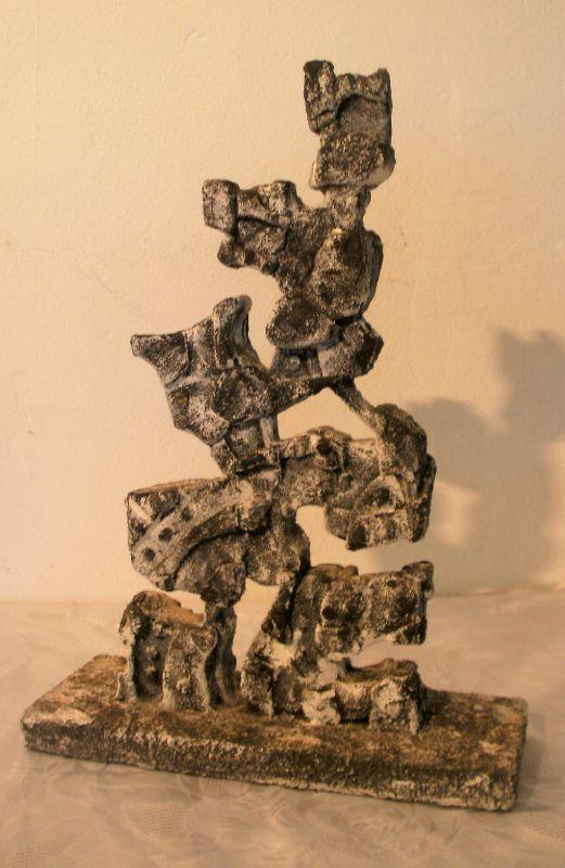 A Bois de natte, sable de basalte, acrylique 36x26x4
