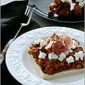 Tartine aux légumes, chèvre & jambon cru