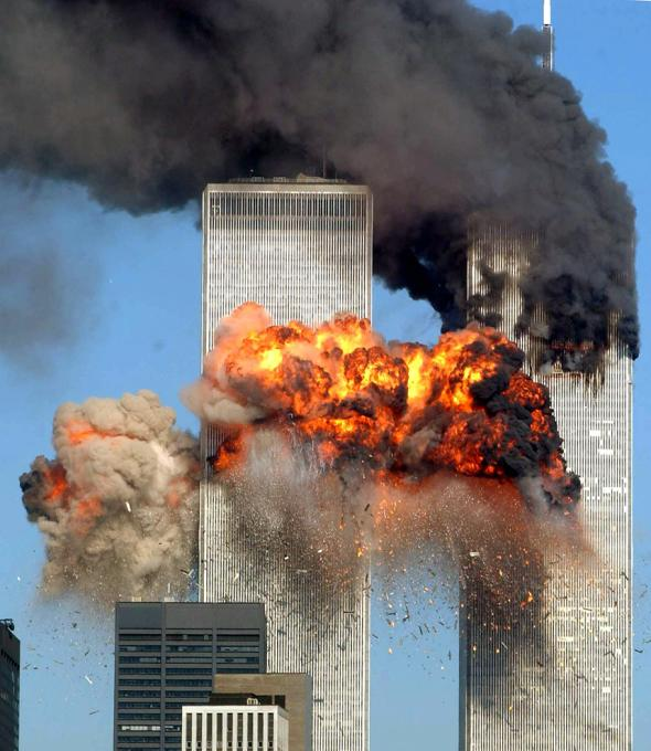 The Twin Towers in fire