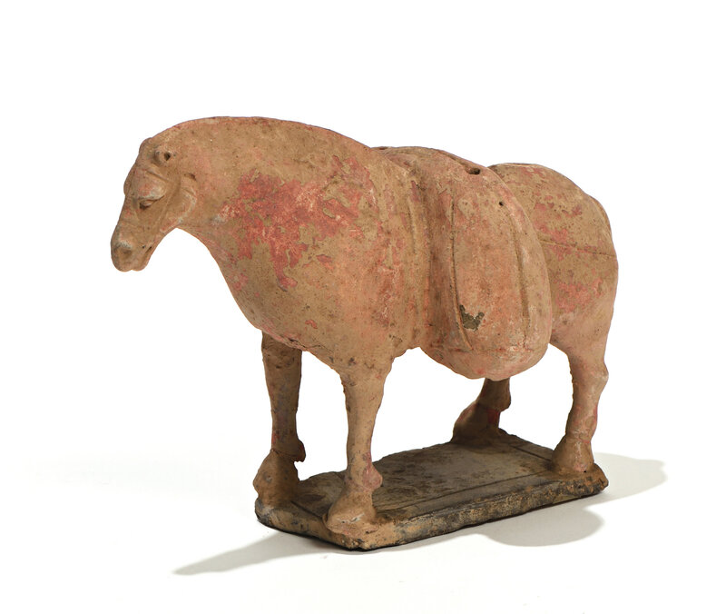 A terracotta polychrome figure of a standing horse, Northern Wei Dynasty (386-534)