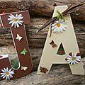 lettres des mariés initiales Monogramme mariage theme nature