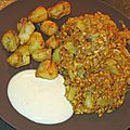 Topinambours grillés au four, petit épeautres aux oignons et fruits secs