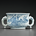 A small blue and white censer, Tianqi-Chongzhen period, circa 1630