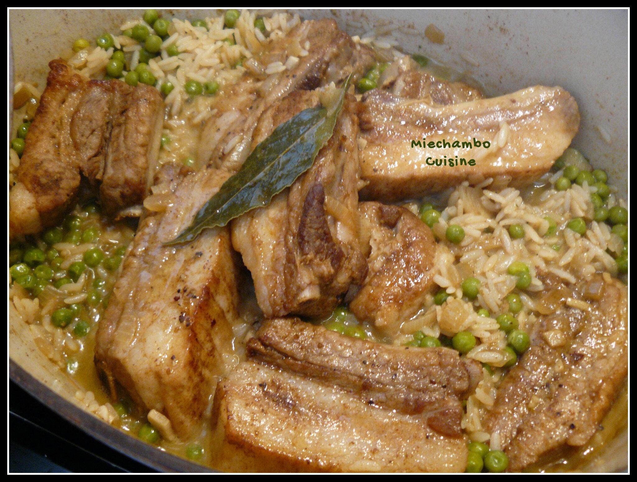 Cocotte de travers de porc au riz et petits pois