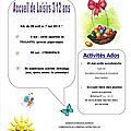 Vacances de printemps 2014 avec le service enfance et jeunesse