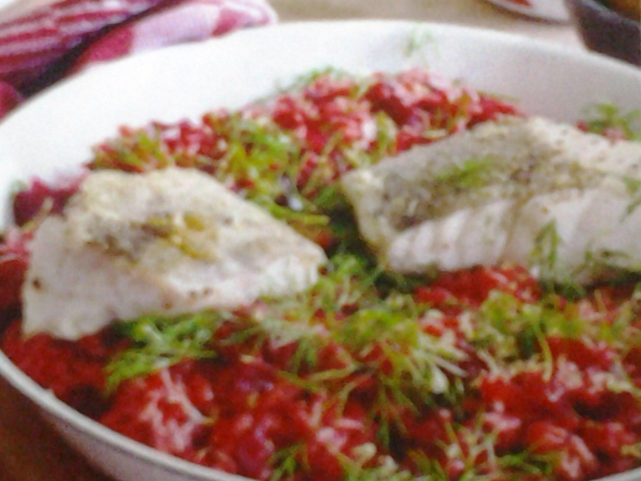 Cabillaud sur un risotto de betteraves rouge