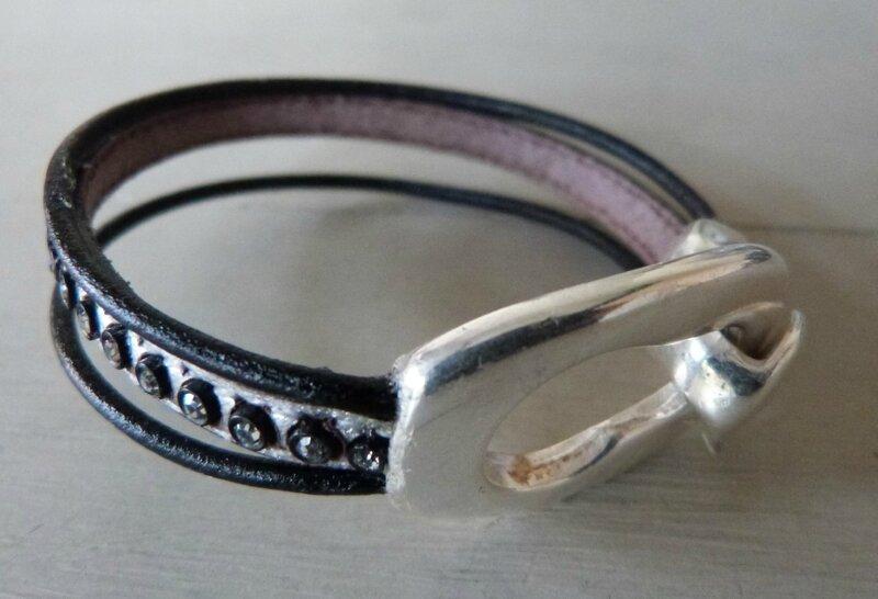 Bracelet Zamak Cuir strass (1)