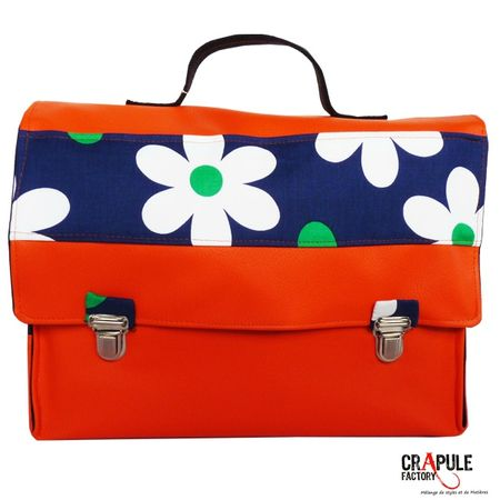 cartable primaire orange et fleur 600 600