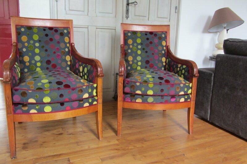 Paire de bergères à retapisser tapissier à Bohars côté sièges