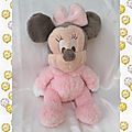 Doudou Peluche Minnie Rose Longs Poils Disneyland Paris Grelot Disney