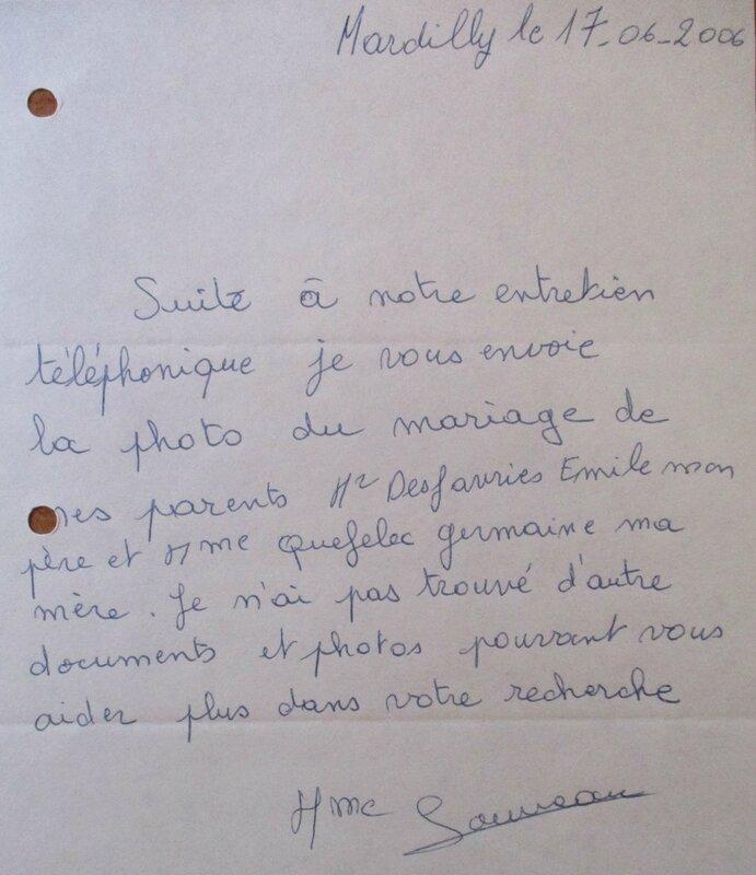 Lettre de Mme Monique Desfavries épouse Louveau 2006