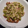 Risotto petits pois-bacon-gorgonzola-tomates confites
