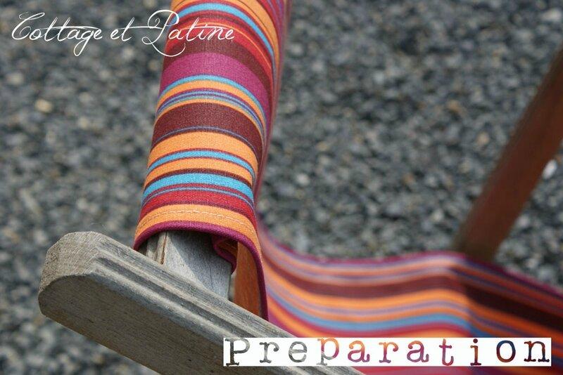 Cottage et Patine refection tissu chaises longues 09