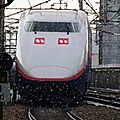 Shinkansen E1, under the snow at Nagaoka station