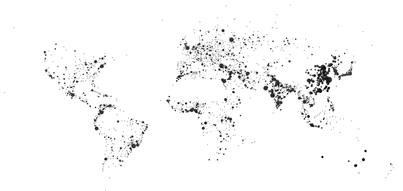 World map showing only large cities