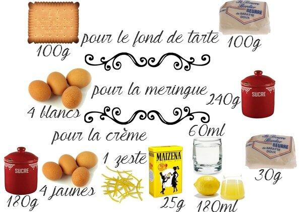 ingrédients tarte au citron