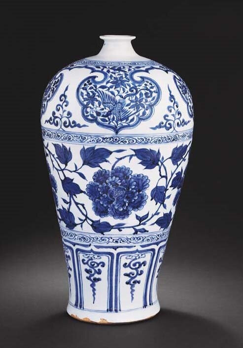 A superb large Yuan blue and white meiping, Yuan dynasty (1279-1368)