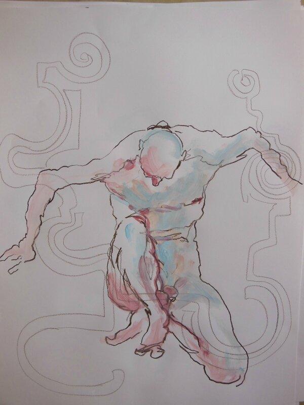 dessin peinture tableau de nu homme modèle vivant (5)