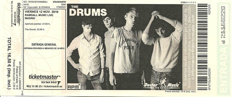 2010 11 The Drums Sala Heinken Billet