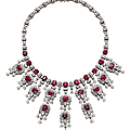 A ruby and diamond fringe necklace, by harry winston