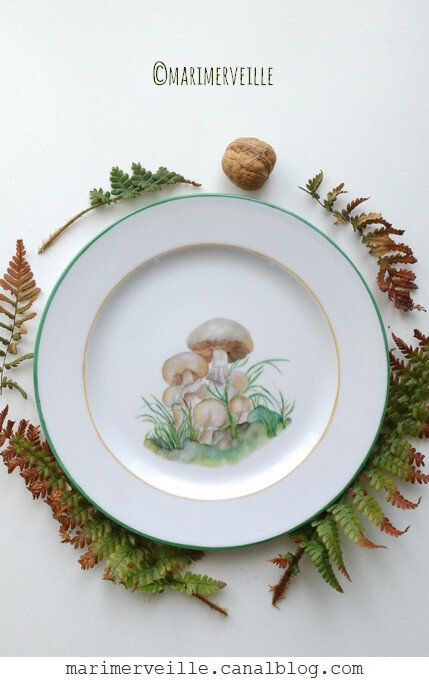 assiette agaric champêtre - marimerveille