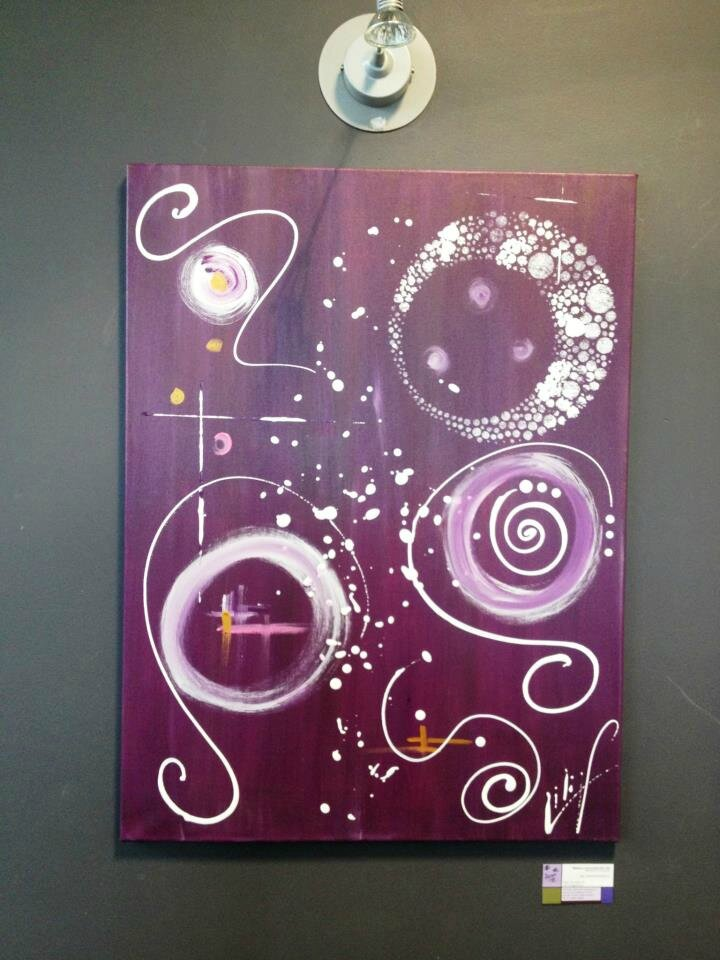 ASTRACTION tableau contemporain abstrait violet et blanc