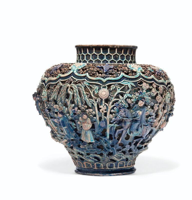 A rare reticulated Fahua jar, guan, Ming dynasty (1368-1644)