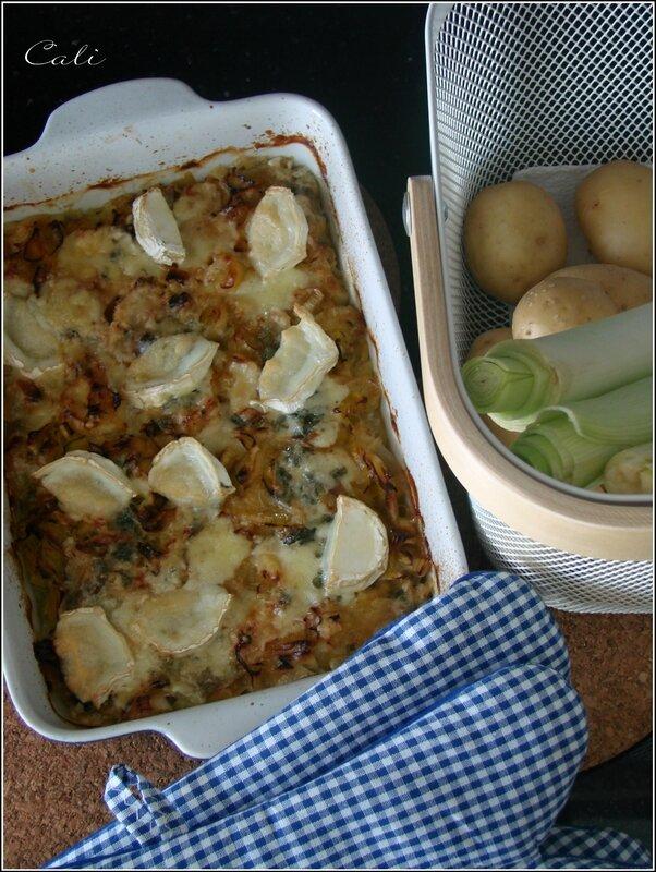 Gratin Poireaux-Pommes de Terre au Roquefort et au Chèvre (sans crème) 002