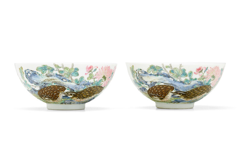 An exceptionally rare pair of Imperial famille rose 'quails and chrysanthemums' bowls Yongzheng six-character marks and of the period