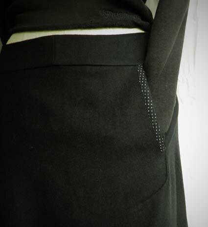 detail poche jupe pois t36