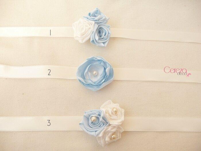 modèles bijoux mariage fleur bracelet de mariée & demoiselle honneur ivoire bleu ciel cereza deco
