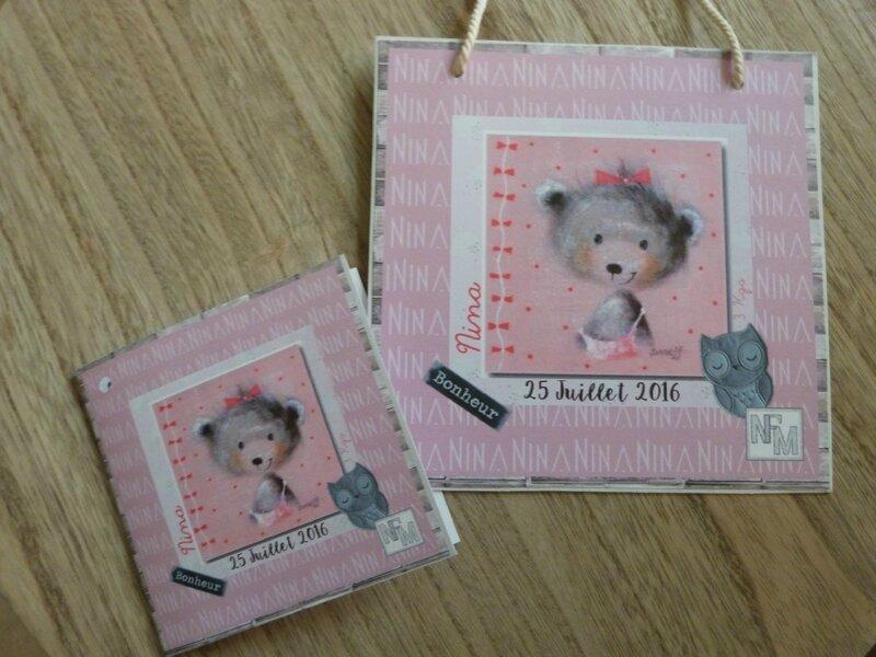 Cadre et carte naissance Nina