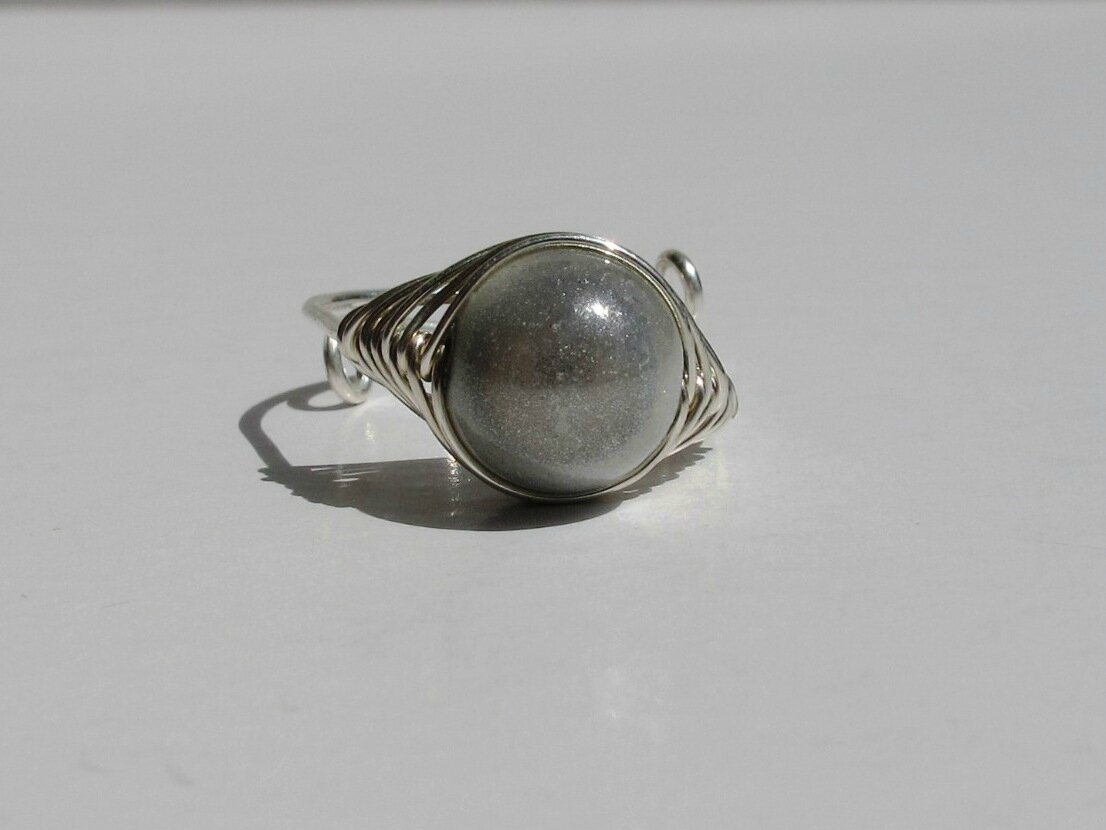 bague wire argent perle blanche