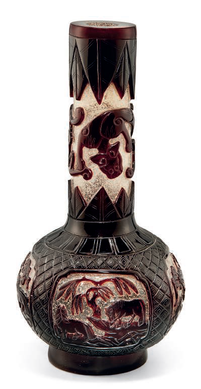 A ruby-red overlay snowflake glass bottle vase, 19th century