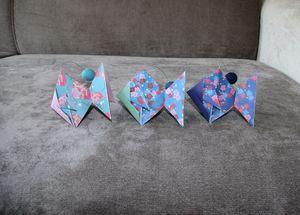 guirlande poisson origami motifs bleu et vert anis boule feutrine