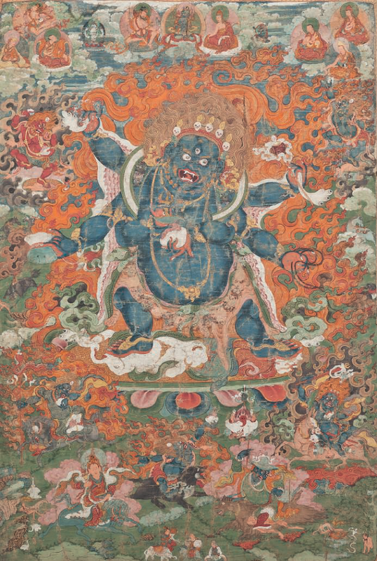A thangka depicting Shadbhuja Mahakal, 18th-19th century