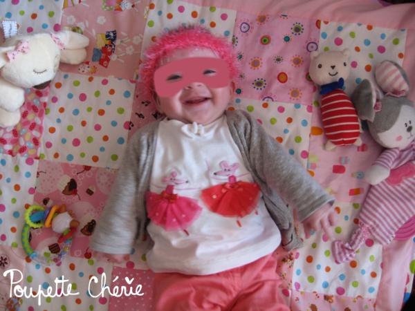 Bandeau rose tricot bébé 07