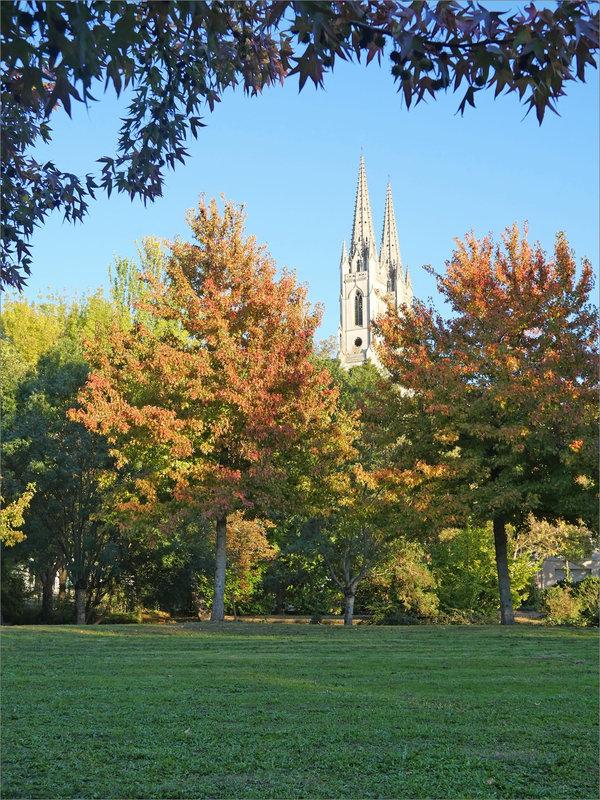 Arbres couleurs automne église soir 141020 ym 2