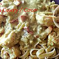 Scampis au curry et lait de coco