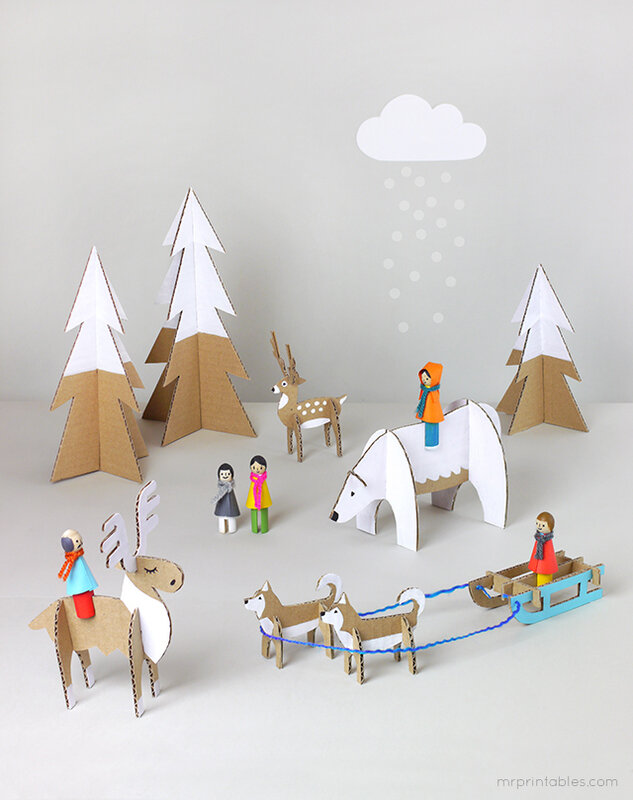 diy_winter_peg_dolls_with_cardboard_animals