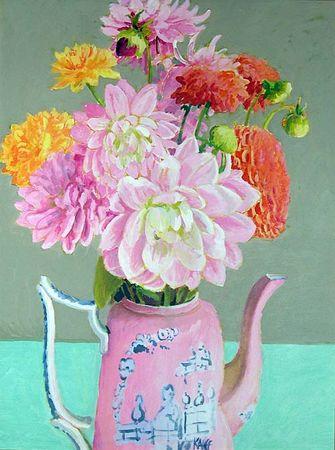 Dahlias_in_Pink_Teapot_40x30_5500