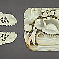 A celadon jade 'turtle' plaque and a pair of celadon jade 'floral' ornaments, yuan-ming dynasty (1279-1644)