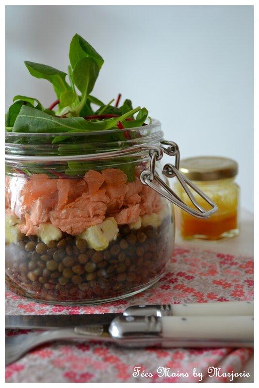 Salade lentilles féta saumon