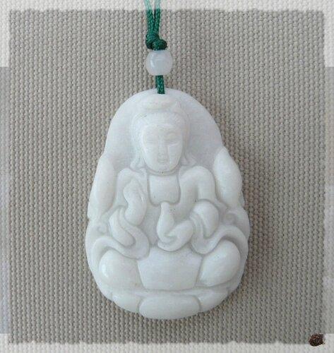 Pendentif Déesse De La Miséricorde Guanynn Jade Blanc Cordon Fil Trssé Vert