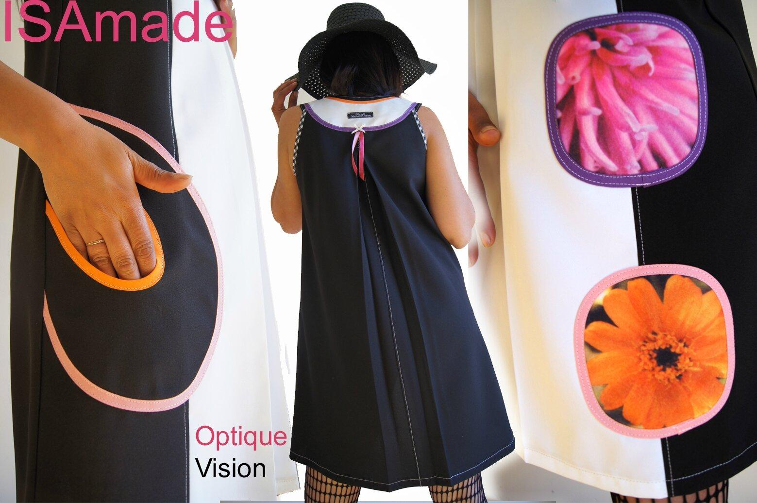 Robe trapèze de style Sixties Noire / blanche Fleurs imprimés photos